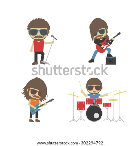 band of musician, isolated on white background