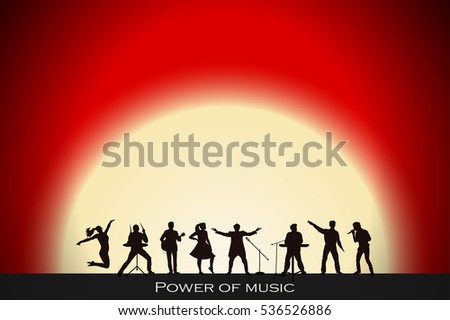 Band show on red sunset background. Festival concept. Set of silhouettes of musicians, singers and dancers. Vector illustration