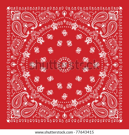 Bandana design in red and white - stock vector