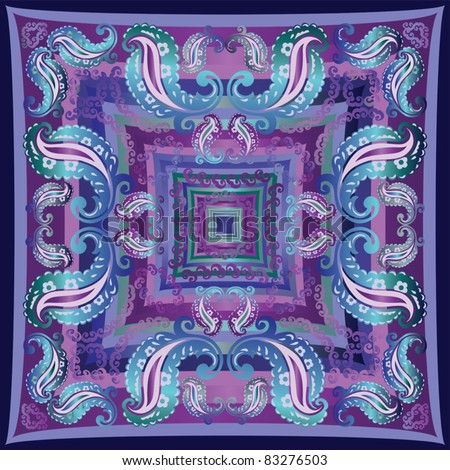 Bandanna design in blue purple and teal - stock vector