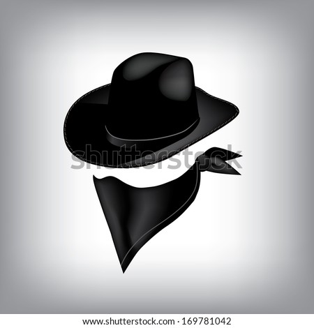 Bandit hat and bandana. EPS 10 vector, grouped for easy editing. No open shapes or paths.  - stock vector