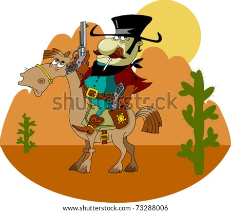 bandit on horseback with pistols in their hands; - stock vector