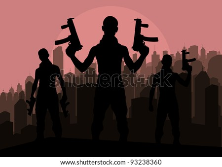 Bandits and criminals silhouettes in skyscraper city landscape background illustration vector - stock vector