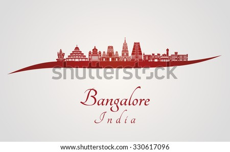 Bangalore skyline in red and gray background in editable vector file