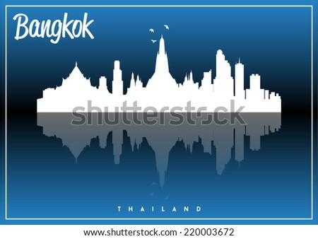 Bangkok, Thailand, skyline silhouette vector design on parliament blue and black background. - stock vector