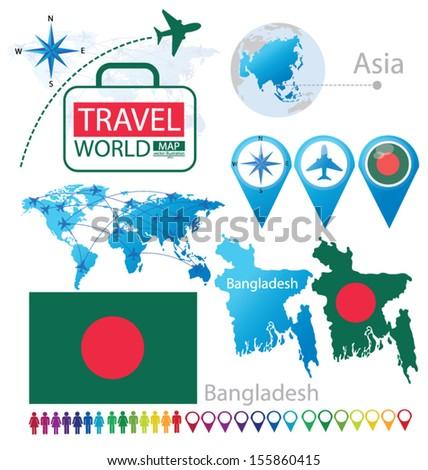 Bangladesh Flag Asia World Map Travel Stock Vector 155860415 ...