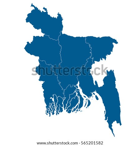 Bangladesh Map Blue Color Stock Vector Shutterstock - Bangladesh map