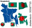 Bangladesh vector set. Detailed country shape with region borders, flags and icons isolated on white background. - stock vector
