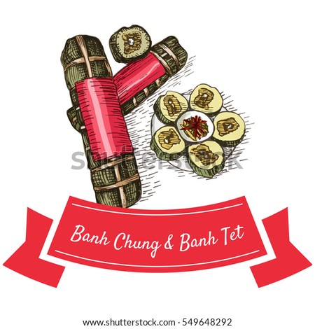 Banh Chung and Banh Tetcolorful illustration. Vector illustration of Vietnamese cuisine.