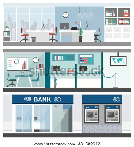 Bank and finance banners set, office, customer service, atm and reception - stock vector