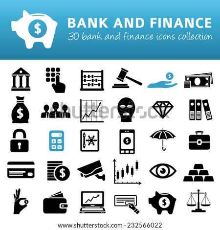 bank and finance icons - stock vector