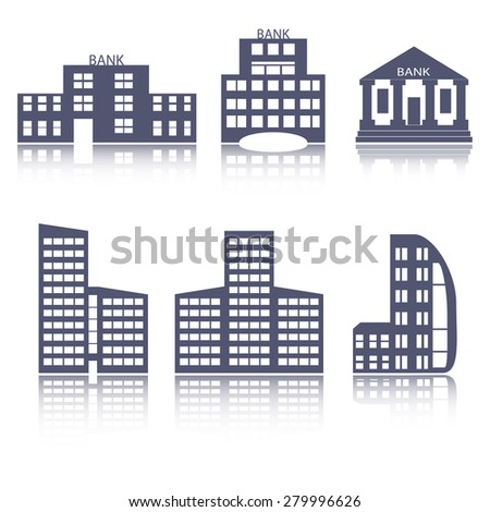 Bank and office buildings flat design web icons set. vector illustration - stock vector
