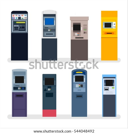 bank ATM machine Economic Finance vector illustration flat design
