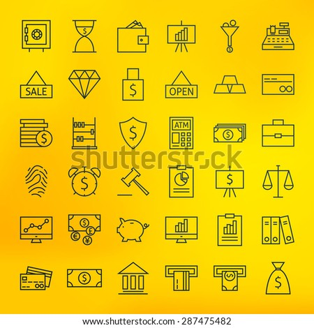 Bank Banking and Finance Business Line Big Icons Set. Vector Set of Line Art Modern Icons for Web and Mobile. Debit. Credit. Money and Finance Items. Investments Earnings Objects. Blurred background.