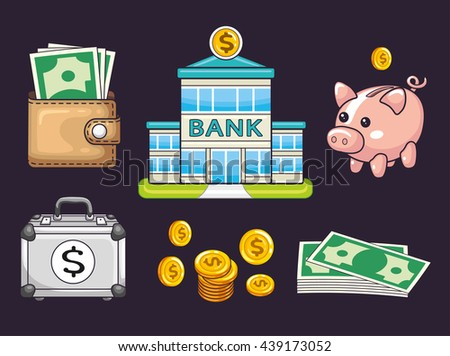 Bank building, coins and banknotes, piggy moneybox, wallet with money, briefcase with a dollar sign. Banking icons set. - stock vector