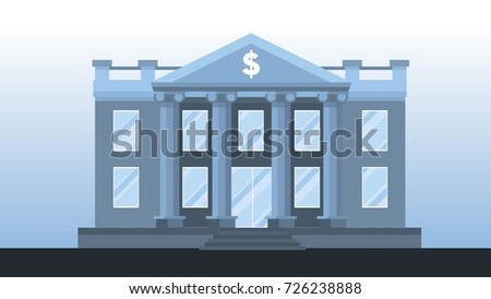 Bank Building Front View In Light Blue Tones Vector Illustration