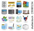 bank, business, finance and office icon set - stock vector