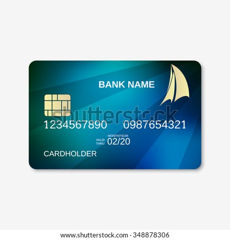 Bank card, credit card design template. Abstract blue vector background - stock vector