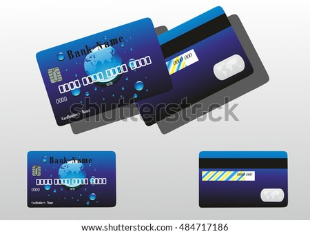bank card with drops.vector illustration.