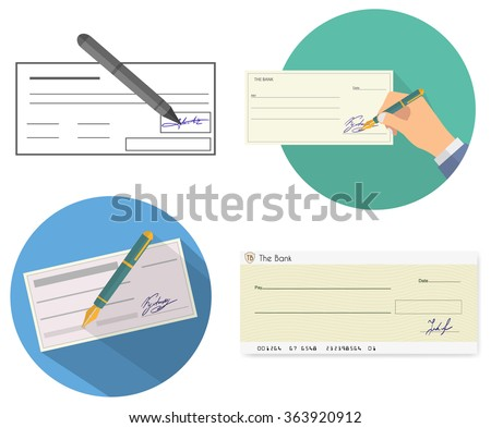 Bank check - stock vector