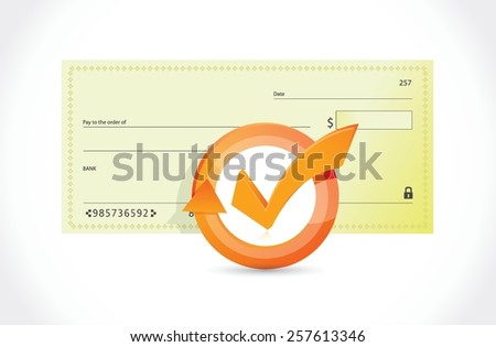 bank check and check mark cycle illustration design over white - stock vector