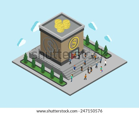 Bank finance money flat 3d web isometric infographic banking monetary concept vector. People walk to cubic bank building. Loan, credit and financial service. Creative people collection. - stock vector