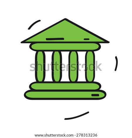 bank icon, isolated on white background. Cartoon style vector illustration.
