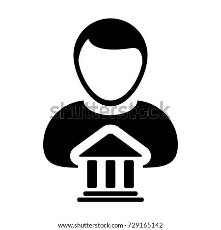 Bank Icon Vector Person Profile Male Stock Vector 729165142