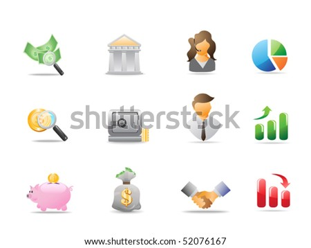 bank icons - stock vector