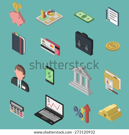Bank isometric icon set with 3d briefcase money exchange businessman isolated vector illustration - stock vector