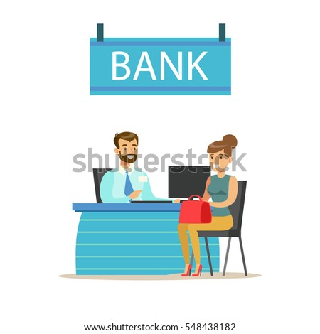 Bank manager his desk client bank vector de stock548438182 shutterstock bank manager at his desk and the client bank service account management and financial malvernweather Image collections
