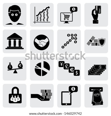 bank & money icons ( signs ) related to wealth, asset- vector graphic. This illustration also represents savings account,investments,wealth creation,banking business,saving money ( cash ),credit cards - stock vector