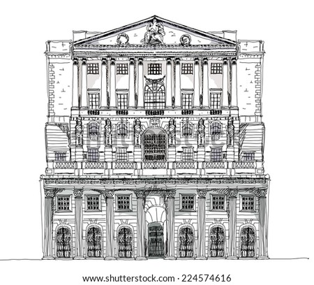Bank of England London, Sketch collection - stock vector