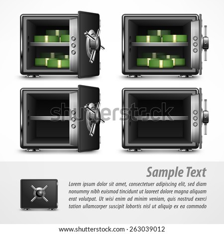 Bank open safes empty and with money on white, vector illustration - stock vector