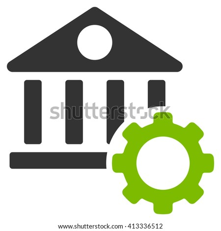 Bank Options vector icon. Style is bicolor flat icon symbol, eco green and gray colors, white background. - stock vector