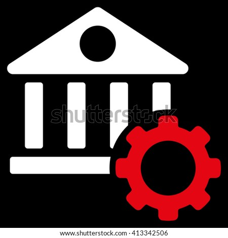 Bank Options vector icon. Style is bicolor flat icon symbol, red and white colors, black background. - stock vector