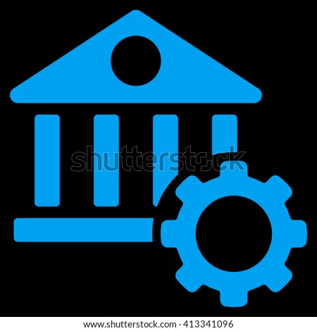 Bank Options vector icon. Style is flat icon symbol, blue color, black background. - stock vector