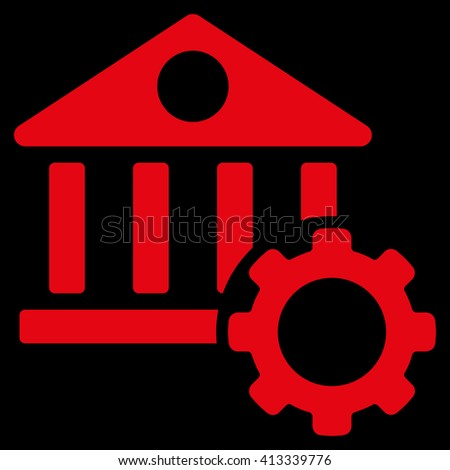 Bank Options vector icon. Style is flat icon symbol, red color, black background. - stock vector