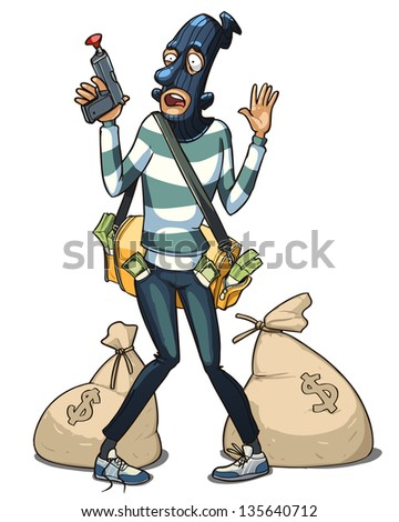 bank robber with money bags arrested by police - stock vector