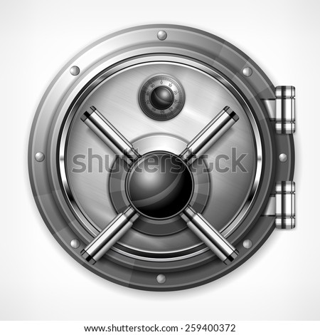 Bank round metallic vault on white, vector illustration - stock vector