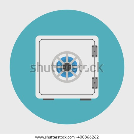 Bank Safe Vector. Icon for web and mobile application. Flat design style.