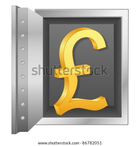 Bank safe with british pound symbol. Vector illustration.