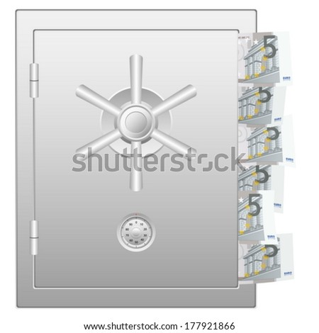 Bank safe with five euro banknotes. Vector illustration.