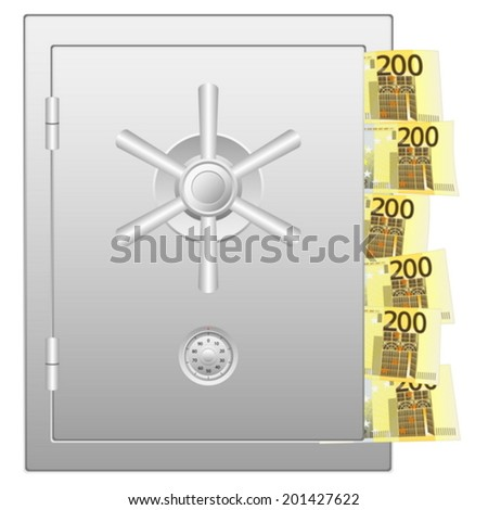 Bank safe with two hundred euro banknotes. Vector illustration.
