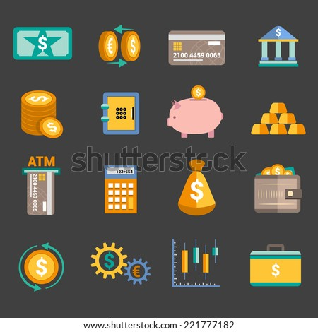 Bank service money icons set with money box storage card isolated vector illustration - stock vector