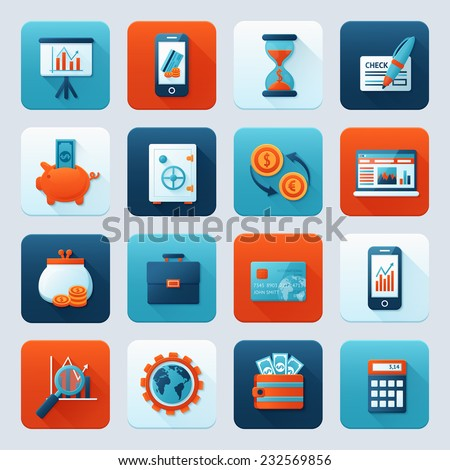 Bank service money icons set with money box storage card isolated vector illustration. - stock vector