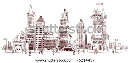 bank square doodle - stock vector