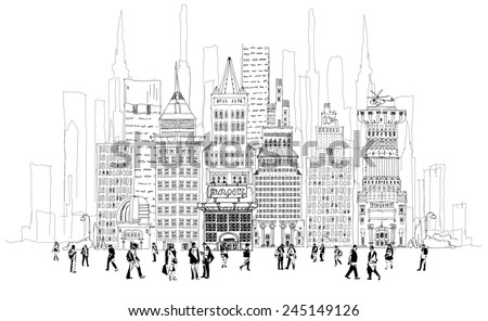Bank street with office workers on the square, business concept - stock vector