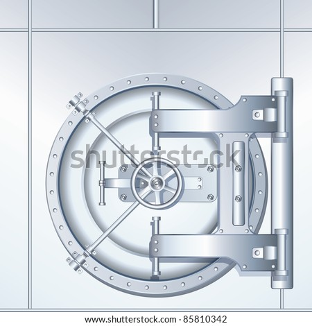 Bank Vault Door, detailed vector illustration - stock vector
