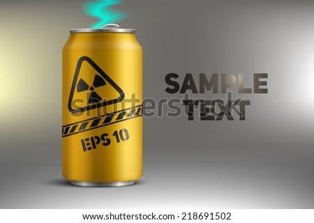 bank with radioactive soda - stock vector